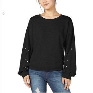 Ultra Flirt Sweatshirt Black Pearl Balloon Sleeve